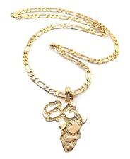 """NEW AFRICA MAP PENDANT & 5mm/24"""" FIGARO CHAIN HIP HOP NECKLACE - MSP352"""
