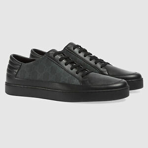 GUCCI SNEAKERS MENS BLACK GG SUPREME CANVAS LEATHER LOW TOP SHOES $830 6 US 6.5