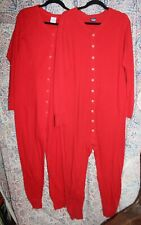 2 Vintage Men's Red Duofold Union Suits Long Johns Cotton & Wool L & M