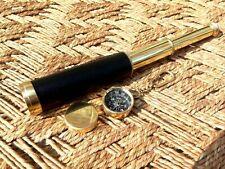 Vintage Spyglass Handmade Leather Telescope With Box lens Marine Scope Decor