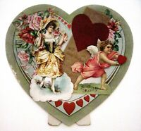 Large Vintage Stand-Up Heart Shaped Valentine w/ Cupid & Lovely Lady & Roses   *