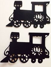 Train Fancy Die Cut Handmade Black Card stock Paper Piecing Embellishment
