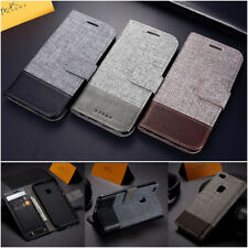 Canvas Leather Magnetic Wallet Card Flip Stand Case Cover For Samsung S8 S9 Plus