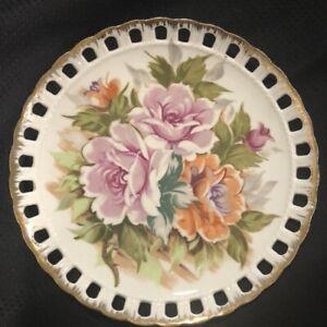 "Vtg Norcrest Porcelain Wall Plate Japan 8"" Reticulated Edge Pink Roses Cottage"