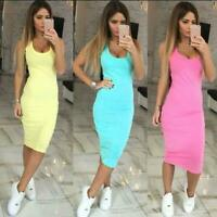 Womens Sexy Bodycon Midi Dress Strap Sleeveless Night Club Solid Color Hot Q