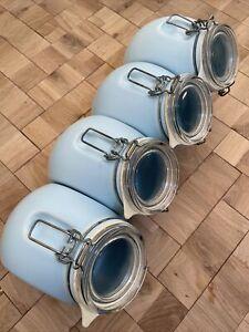 4 Nigella Lawson Living Kitchen 1.5 Litre Duck Egg Blue Ceramic Storage Jars