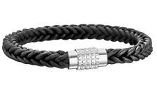 Police Men's Black Leather Charm Bracelet Silver Stainless Steel 25891BLB/01-L