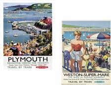 Plymouth & Weston Super Mare Vintage Retro Style   Travel Metal Door  Sign