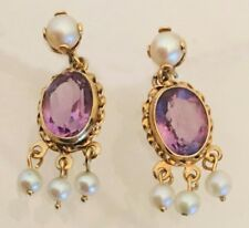 14K Yellow Gold Amethyst & Pearl Dangle Fringe Pierced Earrings