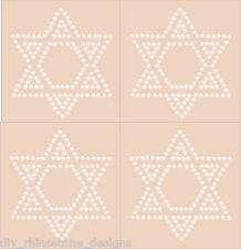 "Iron-On Rhinestone Design 3.5"" Star of David  4 pc Set Transfer Motif Any Color"