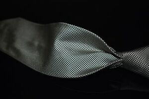 Polo Ralph Lauren Hand Made Italy Black Silver Woven Mini Houndstooth Silk Tie