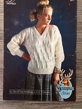 "Hayfield Knitting Pattern: Ladies Sweater, Aran, 28-42"", 2411"