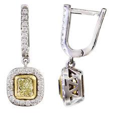 Admirable 4.50 CTW Cushion Diamond Earrings Set GIA certified 18K Fancy Yellow