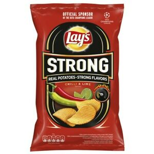 3 x Lays Crisps Strong Chilli & Lime 130g (Pack of 3)