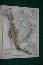 1877 ANTIQUE MAP ~ NORTH AMERICA SHOWING MOUNTAINS TABLE LANDS PLAINS VALLEYS