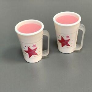 2x American Doll Strawberry Smoothie w/ Star logo Drink Cup Food Accessory