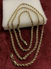 10 kt yellow gold 4.4 Grams rope chain lobster lock scrap or wear 24 Inches