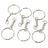 50pcs 25mm Keyring Blanks Tone Key Chains Findings Split Rings 4 Link Charm Z6F6