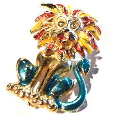 Bijou alliage doré broche intemporelle lion émaillé brooch