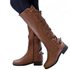 Women Flat Low Heel Knee High Ladies Leg Calf Boots Motorcycle Punk Riding Shoes