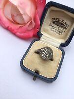 "Antique Jewellery Art Deco Marcasite Ring UK  ""L1/2"" Hallmarks"