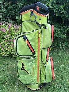 Mizuno Eight-50 Golf Cart Bag, Lime/Orange, 4-Way, Rainhood, very good, 1.95 kg