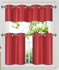 3PC Set Insulated Blackout Grommet Window Curtains Tier Valance Kitchen K7