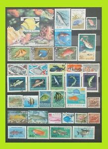 Fish Stamps Collection - 35 Used Stamps