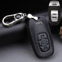 For Audi A4L A6 A8L Q5 A7 Top leather car key case holder cover remote fob Black