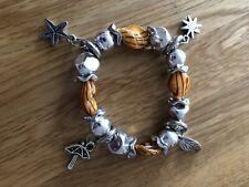 Beaded Charm Summer Boho Bracelet Pretty Orange & Silver Stretchy