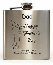 Personalised Father's Day Hip Flask Golf Design With Any Message