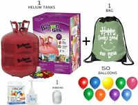 Balloon Time Helium Tank - 50 Balloons and Curling Ribbon + Backpack Bag