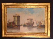 Tableau Marine Port de La Rochelle 1932 Huile signée André Adolphe JACQUELIN