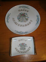 Lefton Happy Anniversary Plate & Candy Tray China No Year #5509 & #5510