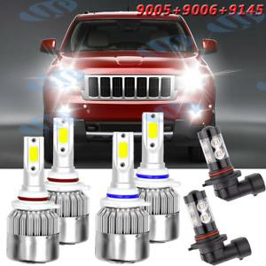 For Jeep Grand Cherokee 2005-2010 LED Headlight Hi/Lo Beam + Fog Light Bulbs Kit