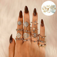 15 Pcs/set Vintage Punk Boho Knuckle Rings Jewelry NEW Gold Midi Finger Ring Set