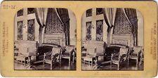 Lit de la Reine Victoria Versailles Stereo Diorama Vintage albumine ca 1860
