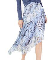 INC Women's Skirt Blue Size 10 Asymmetrical Hem Snake Floral Print $89 #664