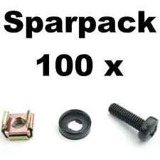 Je 100 Rackschrauben M6 x 20 + Unterlegscheibe Kragen + Käfigmutter Stahlschiene