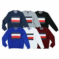 Tommy Hilfiger Mens Pullover Sweater Long Sleeve Crew Neck Graphic Sweatshirt