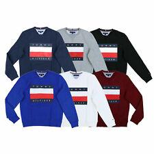 Tommy Hilfiger Mens Sweatshirt Pullover Graphic Fleece Outerwear Flag Logo New