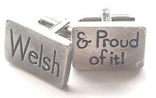 Welsh & Proud Of It Peltre Hecho a Mano Gemelos (N31) Regalo en Caja