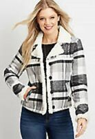 Maurices~New With Tags~Black & White Plaid Sherpa Trim Jacket~Size Large