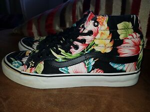 VANS OFF THE WALL SIZE UK 5 BLACK FLORAL CANVAS LADIES