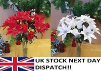 POINSETTIA & ROSE Red White Gold Silver Glitter Bouquet Flower Christmas Ivy