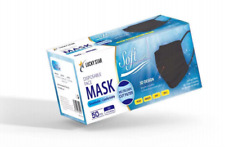 100 x Black 99% ASTM Level 3 3-Ply Disposable Medical Surgical Face Masks 2 Box