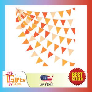 10M/32Ft Triangle Flag Fabric Cotton Pennant Garland Cloth Bunting Orange+36Pcs