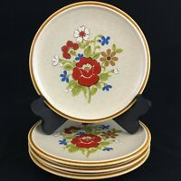 "Set of 4 VTG Salad Plates 7 1/2"" Premiere Stoneware Country Casuals F5800 Japan"