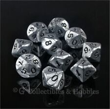 NEW 10 D10 Olympic Pearlized Silver RPG Game Dice Set in Tube Ten Sided WoD D10s