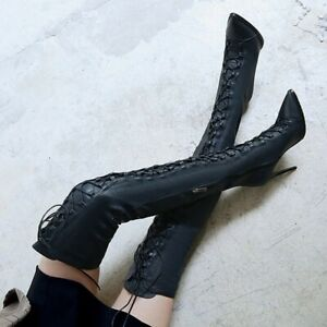 Women's Stilettos Heels Thigh High Boots Pointed Toe Lace Up Boot Shoes Clubwear